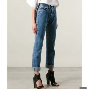 Levis 501 High Rise Button Fly Straight Leg Jeans